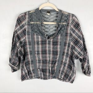 We the Free Plaid Lace Cropped Blouse Mixed Media